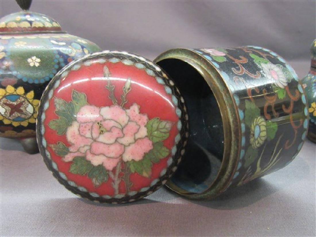Three (3) Chinese Cloisonne Covered Jars - 2
