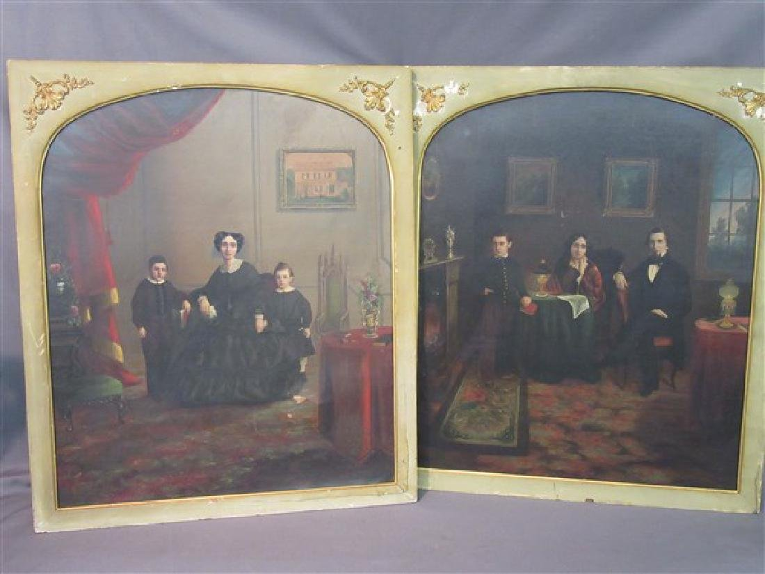 19th C. Interior Family Portrait Paintings