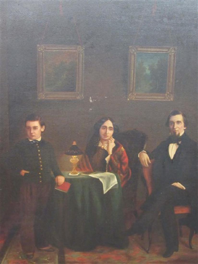 19th C. Interior Family Portrait Paintings - 2