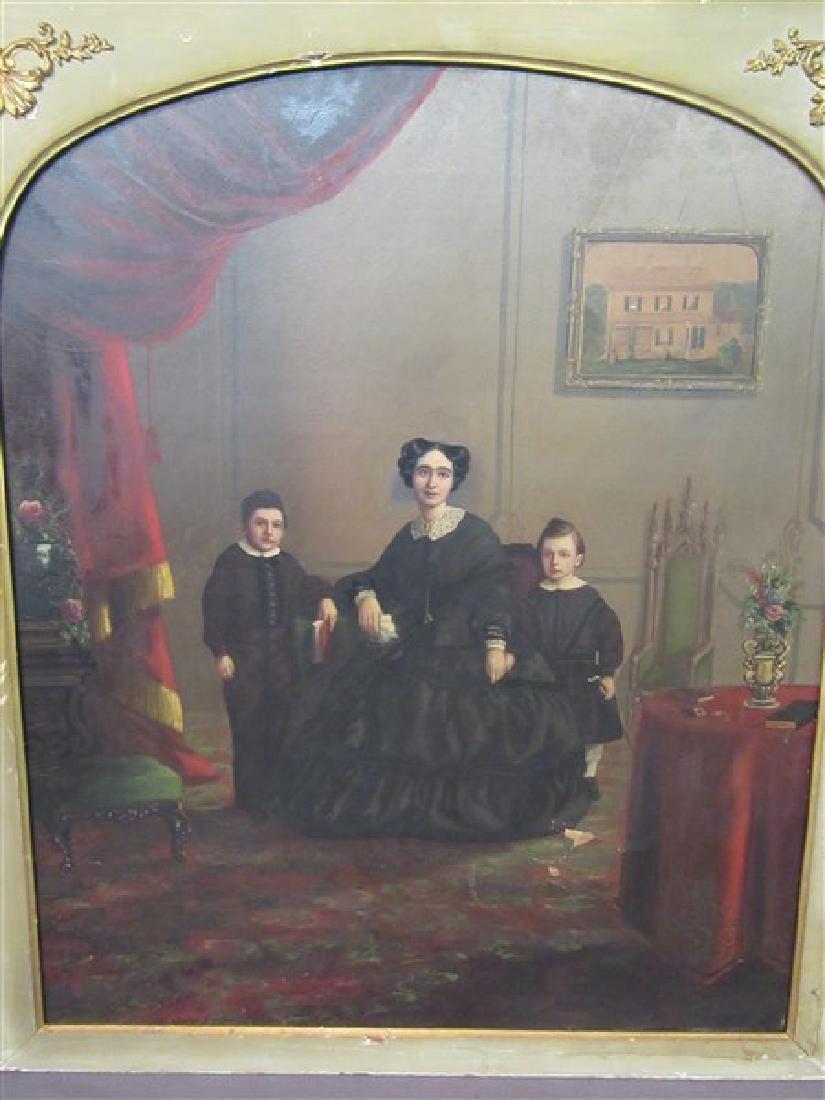 19th C. Interior Family Portrait Paintings - 3