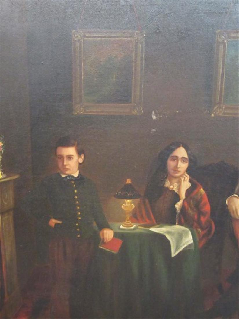 19th C. Interior Family Portrait Paintings - 4