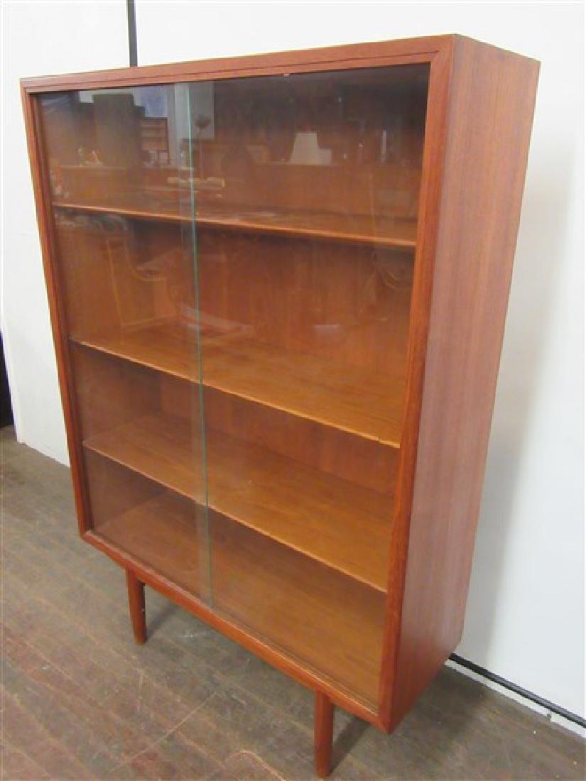 Danish Modern Two Door Glass Bookcase - 3