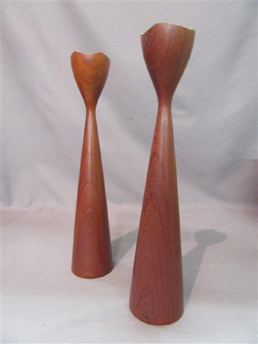 Danish Teak Wood Candlesticks