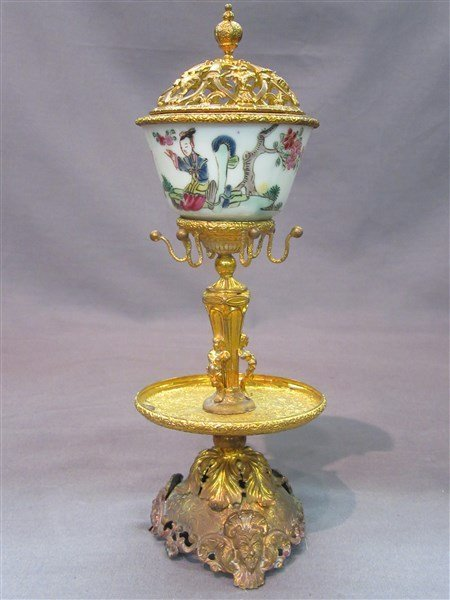 Victorian Gilt Metal And Chinese Ring Holder