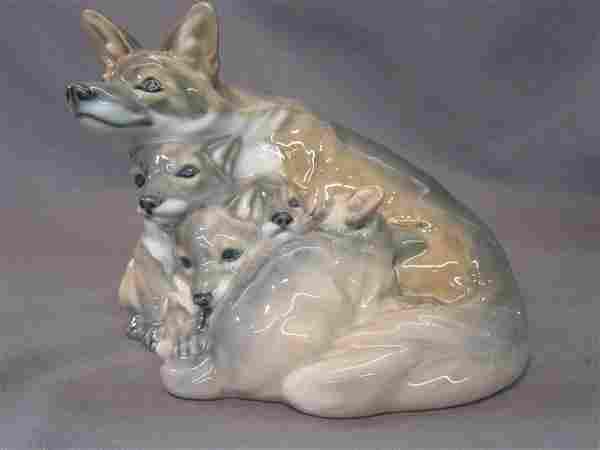 Royal Copenhagen Porcelain Fox Family