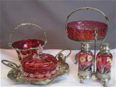 Victorian Silver Plated Cranberry Glass Serving Pieces