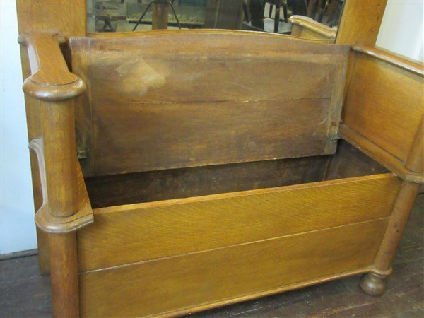 Victorian Carved Oak Hall Tree Bench - 2