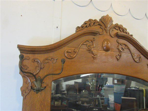 Victorian Carved Oak Hall Tree Bench - 3