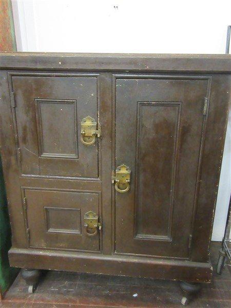 Antique American Pine Ice Box w/ Brass Latches