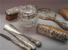 Repousse Sterling Silver Vanity Items