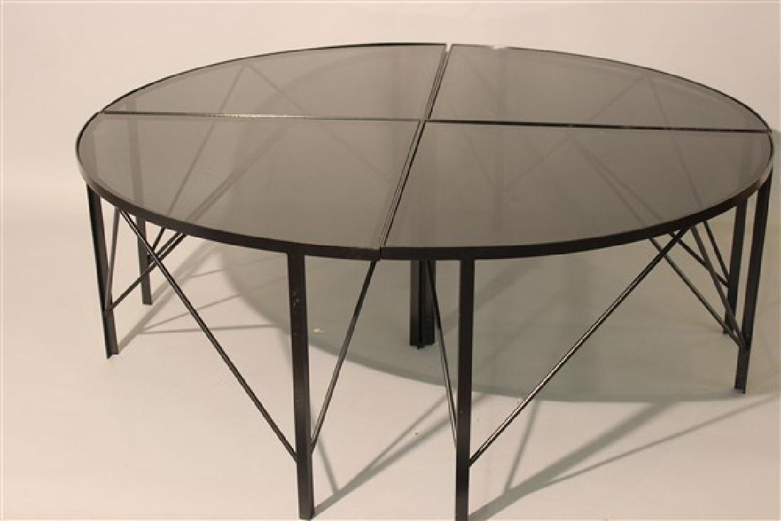 Modernist Black Iron Four Part Pie Shape Coffee Table