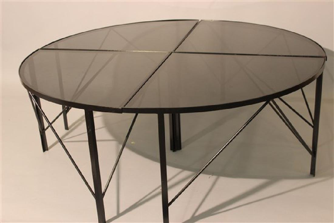 Modernist Black Iron Four Part Pie Shape Coffee Table - 2