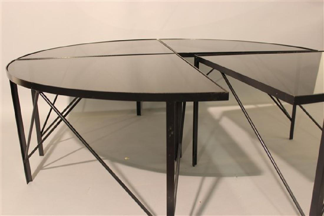 Modernist Black Iron Four Part Pie Shape Coffee Table - 3