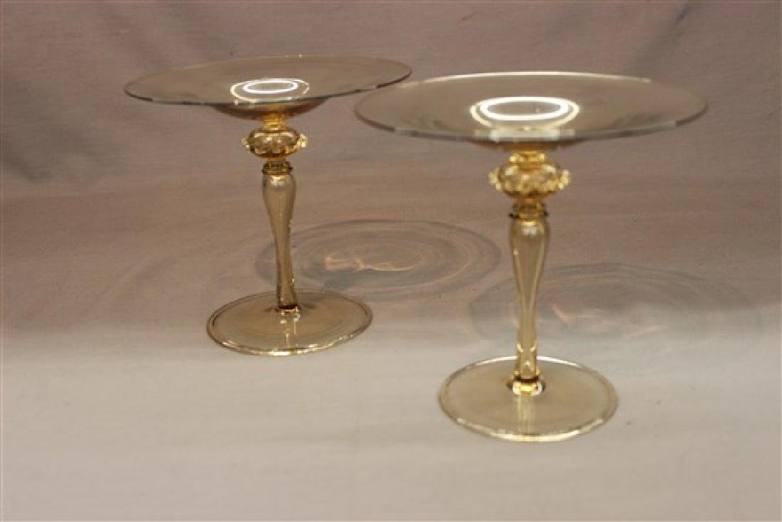 Pair, Vintage Murano Glass Compotes - 2