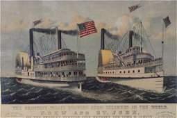 Currier & Ives Hudson River Drew & St. John Steamers
