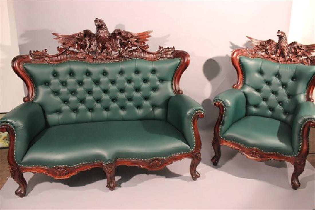 Contemporary Carved Mahogany Tufted Sofa And Chair
