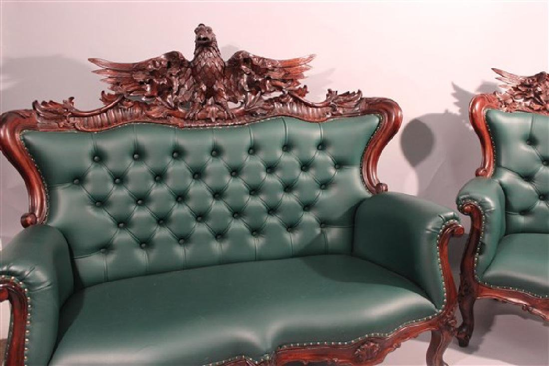 Contemporary Carved Mahogany Tufted Sofa And Chair - 2