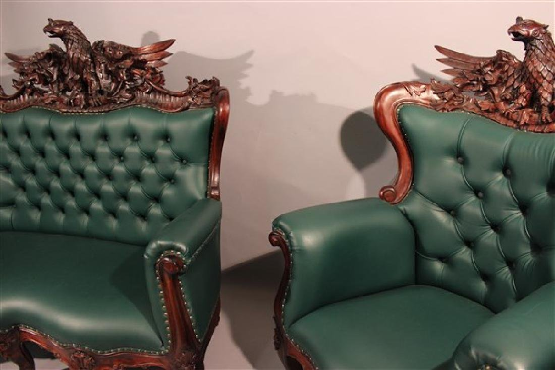 Contemporary Carved Mahogany Tufted Sofa And Chair - 4