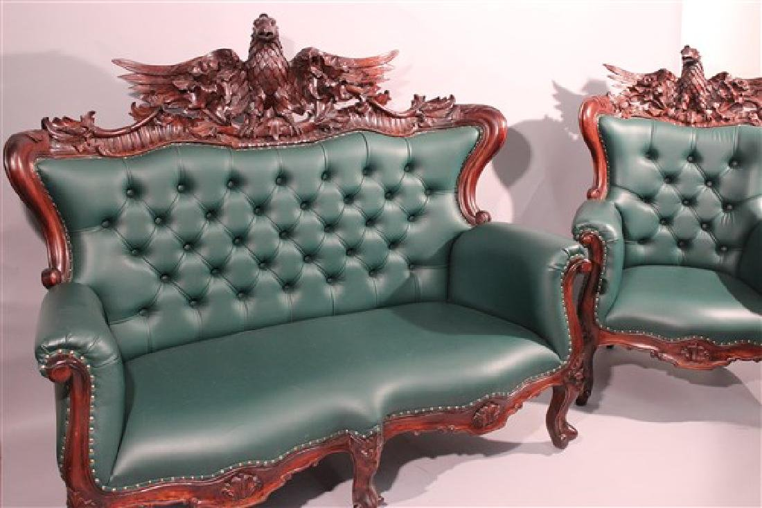 Contemporary Carved Mahogany Tufted Sofa And Chair - 5