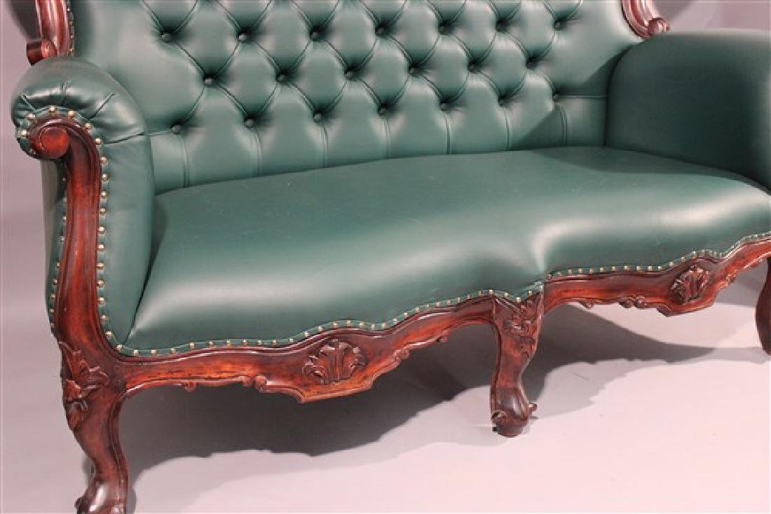 Contemporary Carved Mahogany Tufted Sofa And Chair - 6