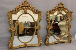Monumental Venetian Gold Gilt Etched Glass Mirrors