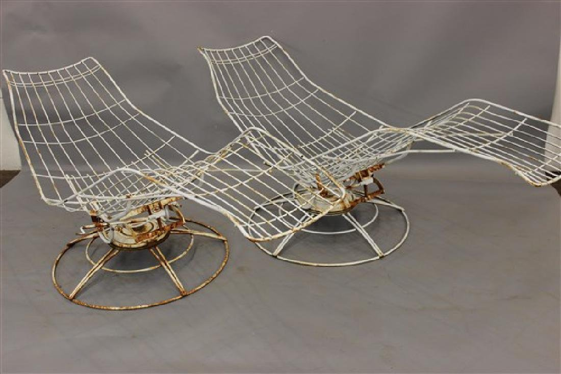 Vintage Mid Century Modern Wire Metal Chaise Lounges