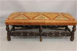 Baroque Walnut Upholstered Bench