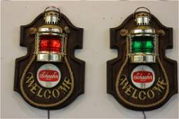 A Pair, Schaefer Nautical Ship Lantern Beer Signs
