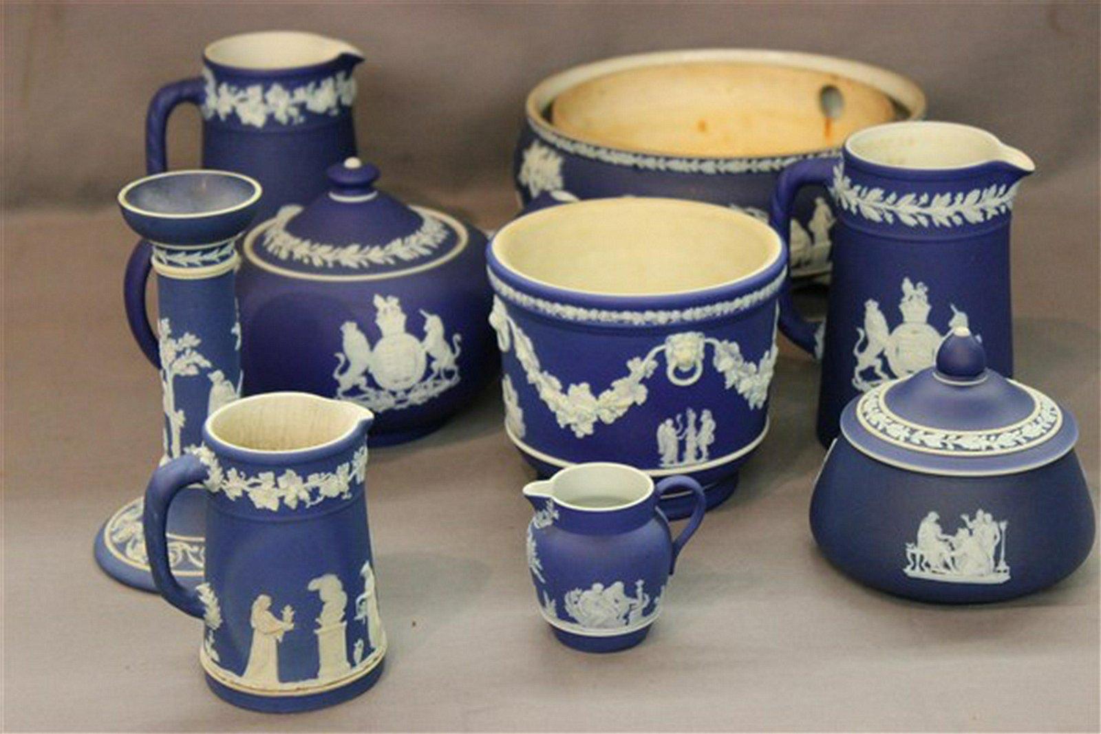 Collection of Wedgwood Blue Jasperware Porcelain