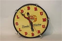 Old Drum Whiskey Barrel Vintage Clock