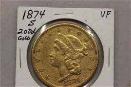 1874 $20 Liberty Head Double Eagle Gold Coin