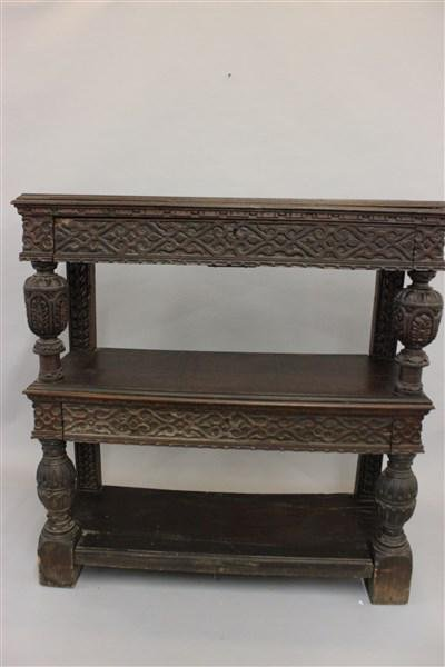 18th c. British Jacobean Two Drawer Tiered Shelf