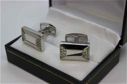 14k White Gold Diamond Cufflinks by Braccio