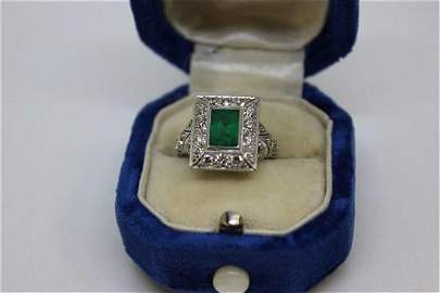Estate Colombian Emerald And Diamond Ring