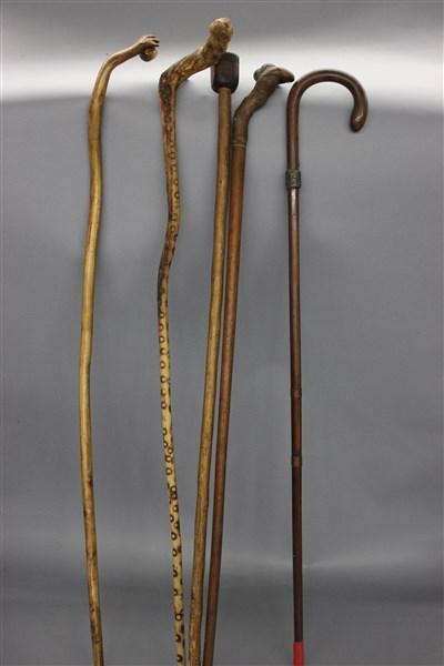 Vintage Carved Wood Canes, Walking Sticks