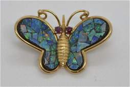 14k Gold Fire Opal And Garnet Butterfly PinPendant