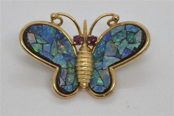 14k Gold Fire Opal And Garnet Butterfly Pin/Pendant