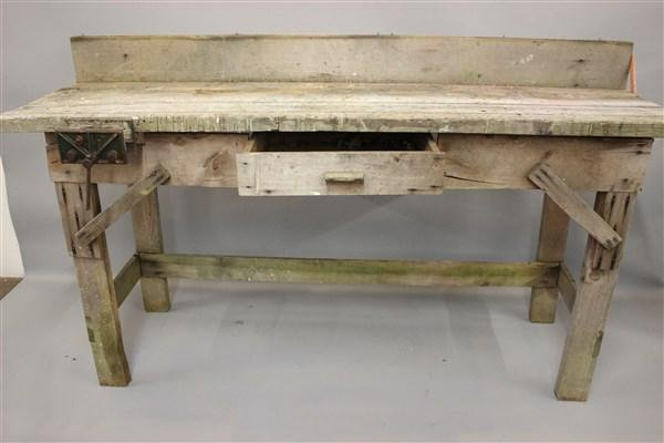 Primitive Pine Wood Work Bench