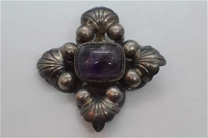 Large Vintage Mexican Sterling Silver Amethyst Brooch