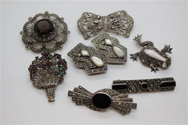 Sterling Silver Marcasite Jewelry Lot