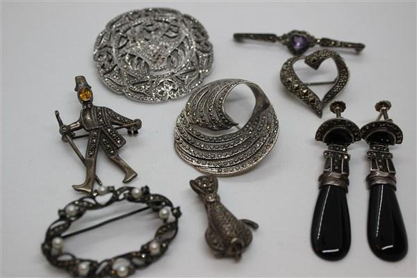 Marcasite Sterling Silver Jewelry Lot