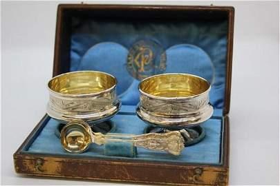 Victorian Fancy Clark & Biddle Finger Bowls  w/ Case