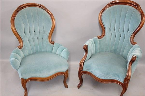 His And Hers Victorian Carved Walnut Parlor Chairs