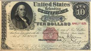 United States refunding certificate $10 1879