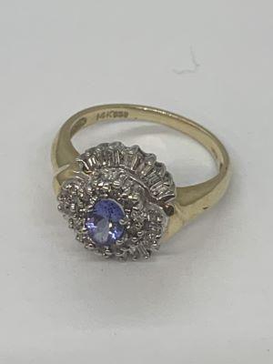 14k Diamond And Tanzanite Ring
