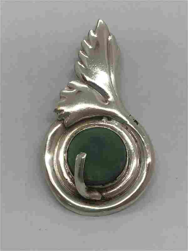 Sterling Silver Green Turquoise Mexican Pin