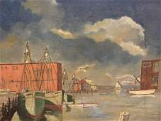 c 1950 Cape Cod Oil Painting