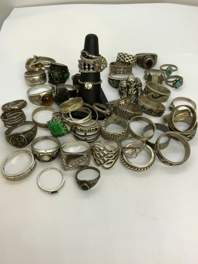 Forty-Seven (47) Piece Sterling Silver Ring Lot