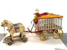 Folk Art Antique Horse Drawn American Circus Pull Toy