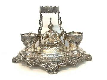 Antique French Silver Ink Stand, Arab On Carpet